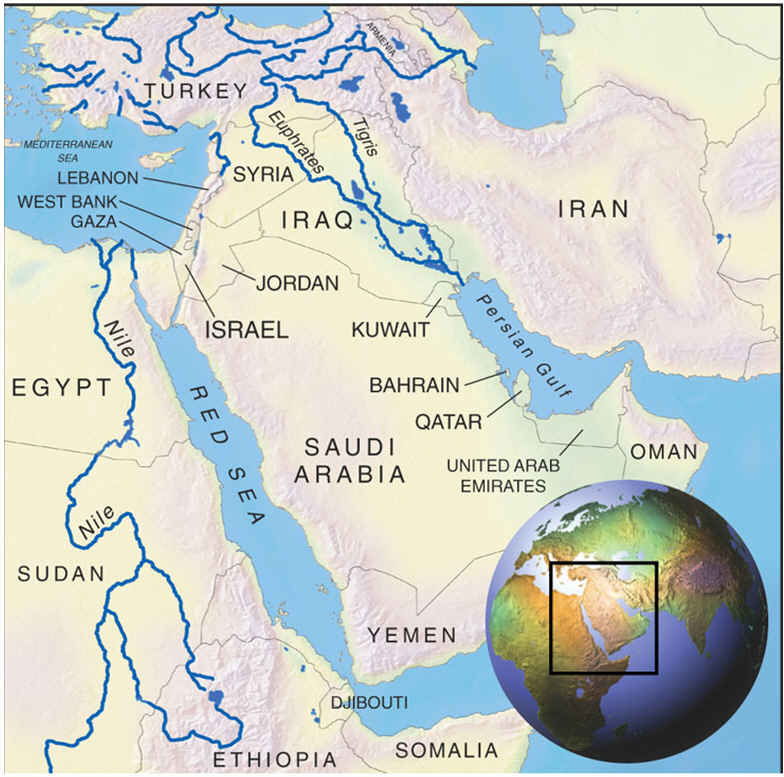 Middle East Landforms Map american maps